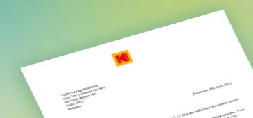 Благодарствено писмо от Kodak за тестването на новите Prinergy Tools