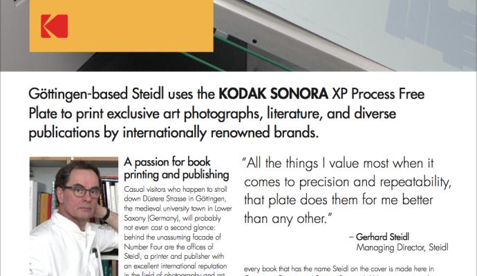 Steidl използва безпроцесните пластини Kodak Sonora XP за да печата ексклузивни фотографии, литература и различни публикации на международно известни марки